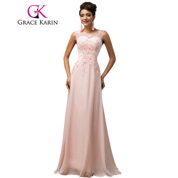 Long Bridesmaid Dresses Grace Karin Sleeveless Chiffon Pink Red Royal Blue Black Wedding Party Dress Formal Gowns Vestidos 2017