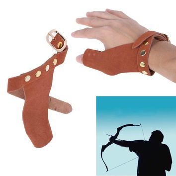 Outdoor Left Hand Archery Arrow Bow Cow Leather Hunting Shooting Protective Finger Protector Guard ONE Fingers Protect Glove