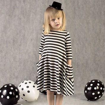 New autumn girls dresses stripe kids dress children casual long sleeve  dress children dresses girls