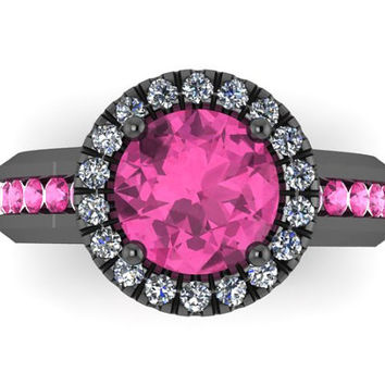 Diamond Halo Pink Sapphire Engagement Ring 14K Black Gold Pink Sapphire Ring with 7mm Round Pink Sapphire Center - V1032