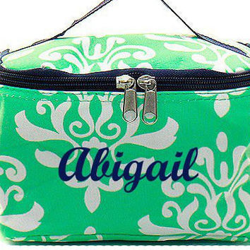Monogrammed Cosmetic Bag  Mint and White Damask Cosmetic Bag  Monogrammed Makeup Bag
