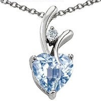 Star K Heart Shape 8mm Simulated Aquamarine Pendant Sterling Silver