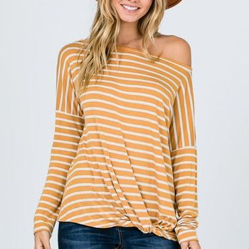 Striped Off Shoulder Twist Top - Mustard