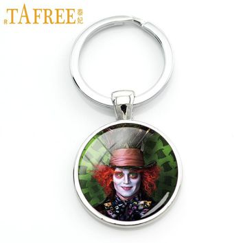 TAFREE New women men keychain Alice In Wonderland jewelry White Rabbit Mad Hatter cartoon key chains holder for car bag CT03