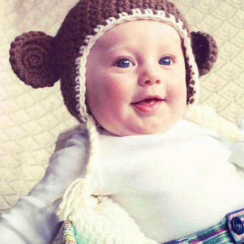 SALE Light Brown Crochet Newborn Baby Tassle Beanie Hat w/ Monkey Ears (Preemie -12 months) Photo Prop
