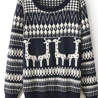 Pink Queen Womens Fashion Giraffe Pattern Round Neck Christmas Sweater Sweatshirt (Dark Blue)