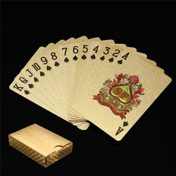 2017 Hot Sale 54Pcs Waterproof 24K Gold Foil Plated Desk Game Poker Playing Cards Novelty Gift Party Games