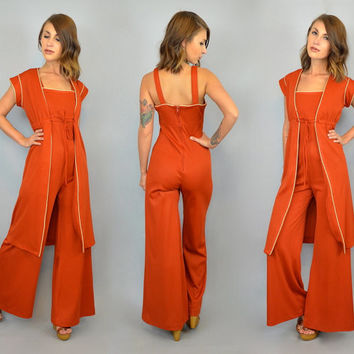 vtg 70s bohemian 2-PIECE JUMPSUIT + DUSTER retro fitted bell bottom ensemble, extra small