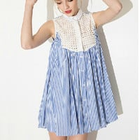 Ladies' Elegant Striped print lace hollow out Dress sexy vintage sleeveless casual slim brand dress QZ1943