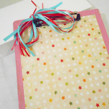2 Side Handmade Pink Decorative Clip Board in Stars and Cupcakes Pattern -- Great Teacher's Gift -- Girl's School Supply --