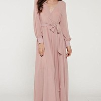 Feminine Mystique Blush Wrap Maxi Dress