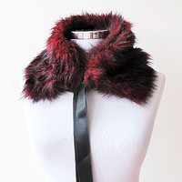 Fur collar, Red and Black, Polyester faux fur, Women Accessories, Winter, Christmas Gift