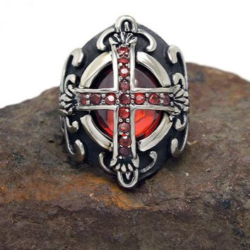 Atomic Vampire Red Cross Titanium Steel Ring