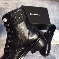 Gucci Women's Black Leather Side Zip Lace-up Ankle Boots Shoes High Boots