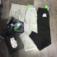 2016 Autumn Winter Ripndip Trending Fashion Women Hidden Middle Finger in Pocket Cat Appliques Printed Exercise Gym Running Warm Casual Party Long Sweatpants Pants Trousers  _ 8629