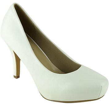Womens Dress Shoes Square Toe Classy Slip On Pumps White