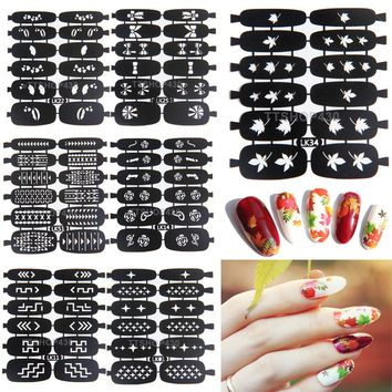 NEW Easy Use Nail Art Stamping Template Stencils Stamp Guide Reusable Tips Vinyls Guides Nail Design Stickers