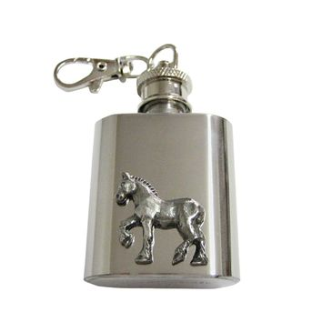 Silver Toned Horse 1 Oz. Stainless Steel Key Chain Flask