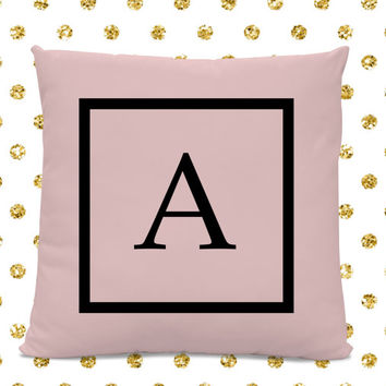 Initial Pillow - Letter Pillow - Pillow with Letter A - Monogrammed Pillow - Custom Throw Pillow - Pink Letter Pillow