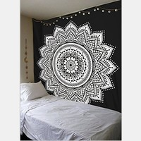 White Black Lotus Tapestry High Quality Cotton India Bohemia Mandala Elephant Lion Hanging Wall Tapestries Bedspreads Decorative