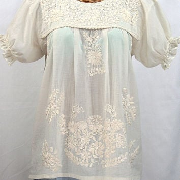 "Mexican Peasant Blouse Top Hand Embroidered: ""La Mariposa"" Off White"