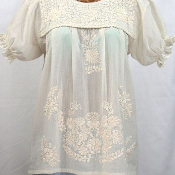 fb44c1e53ad8cd Mexican Peasant Blouse Top Hand Embroidered: