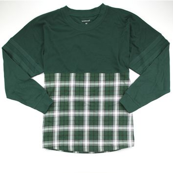 Forest and White Plaid Pom Pom Jersey