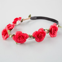 Full Tilt Delicate Flower Crown Headband Red One Size For Women 25805730001