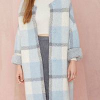 Light Blue Plaid Single Breasted Long Sleeve Knit Coat