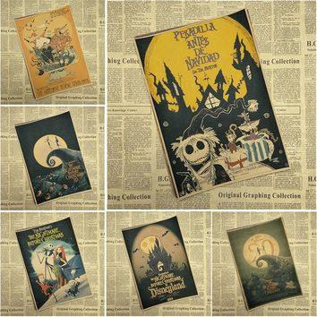The Nightmare Before Christmas Cartoon Movie Kraft Paper Poster Bar Cafe Living Room Dining Child room Decorative Paintings