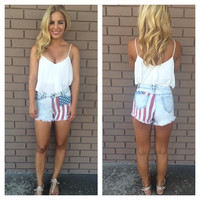 Light Wash Stars & Stripes High Waisted Denim Shorts