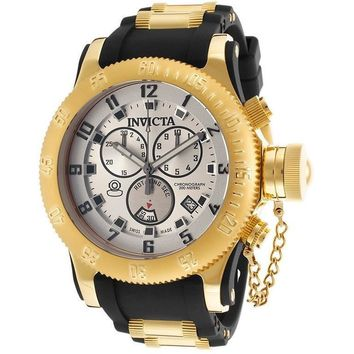 INVICTA 15561 Men's Russian Diver Chronograph Two-Tone Strap Silver-Tone Dial