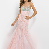 Floral Lace Fit And Flare Lace Up Back Prom Dress By Blush 9750