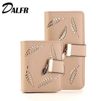 DALFR PU Leather Wallet Women Luxury Female Clutch Fashion Leather Purse Designer Bags High Quality Ladies Bags