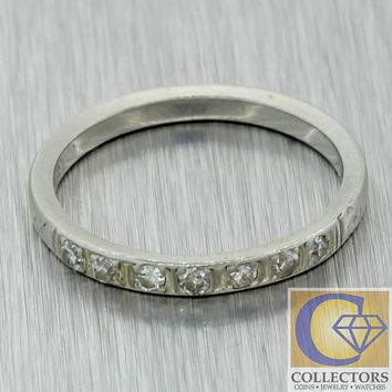 1930s Antique Art Deco 18k White Gold 2mm .15ctw Diamond Wedding Band Ring