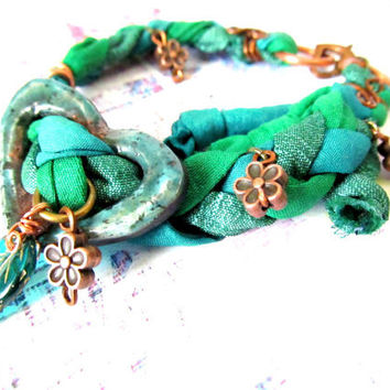 Eco Friendly Spring Green Upcycled Braided Sari Silk Ribbon Friendship Bracelet - Raku Ceramic Beaded Bracelet, Made in US
