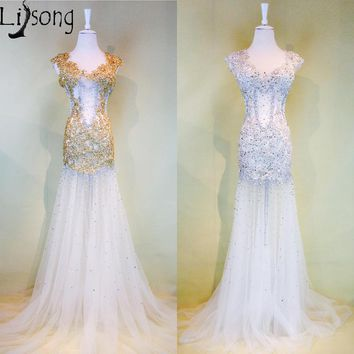 2018 Gold See-through Mermaid Prom Dresses Long Sexy Illusion Silver Gorgeous Party Maxi Gowns Luxury vestido formatura longo