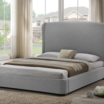 Baxton Studio Sheila Gray Linen Modern Bed with Upholstered Headboard - Full Size Set of