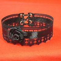 Elegant Gothic Choker, with Lace and Rose in Black, Textile Jewelry , Vampire Necklace with Corset Closure, Baroque and Victorian Styles