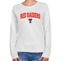 Texas Tech Red Raiders Ladies White Logo Arch Long Sleeve Classic Fit T-shirt