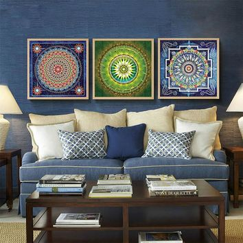 Bohemian Style Flower Mandala Canvas paintings artwork posters wall picture Mandala Series Modern paintings  home decor