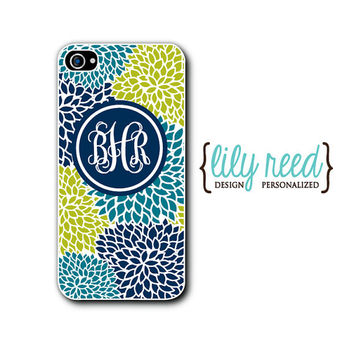 Personalized Phone Case, iPhone 5 5c 5s, iPhone 4 4s, Samsung Galaxy S4, iPhone Case, Custom, Monogram Case, Floral, Zinnia