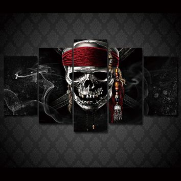Skull bandanna smoke 5 panel wall art print poster on canvas skulls