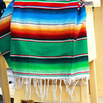 Mexican Falsa Blanket Green Multi
