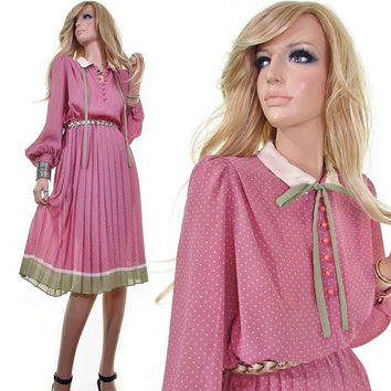 zoë 70s dress tea party dress swiss dot polka dot vintage womens clothing pleated skirt dusty pink green sheer secretary boho hippie dress m