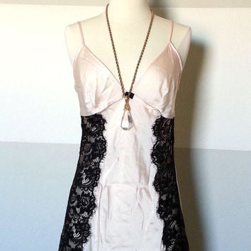100% Silk Blush Pink and Black Lace Sheer Boudoir, Burlesque Style Lingerie Slip, Great Gatsby, Art Deco