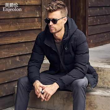 Cotton Padded Jacket coat Men black Parka hoodies coat Thick Quilted fashion Coat Men