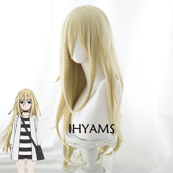 Anime Angels of Death Rachel Gardner Ray 80cm Long Straight Blonde Cosplay Wig Synthetic Full Hair + Wig Cap