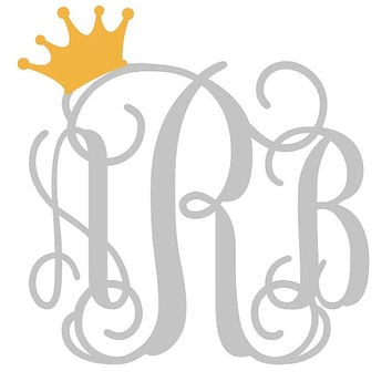 Custom Metallic Monogrammed Crowned Initials Vinyl Decal Mix & Match MADE TO ORDER Free Shipping