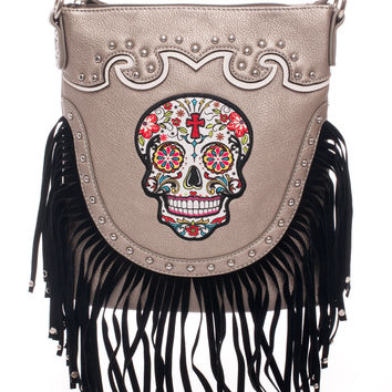 Fringed Sugar Skull Hip Bag